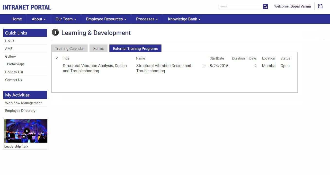 SharePointIntranetPortal-LDExternal-Training-program
