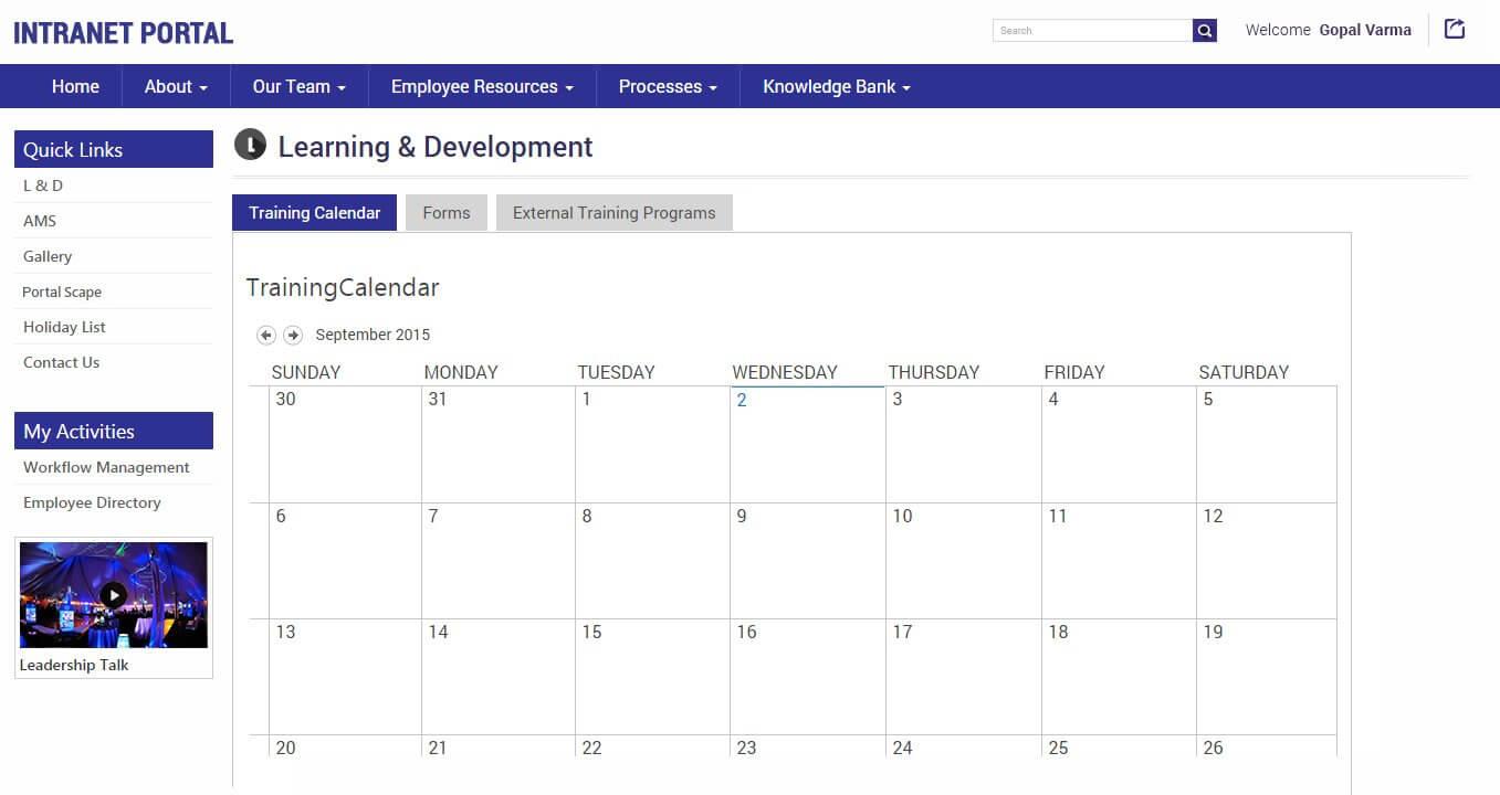 SharePointIntranetPortal-LDPage-TrainingCalendar