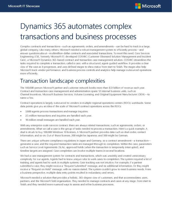 , Dynamics 365 automates complex transactions and business processes
