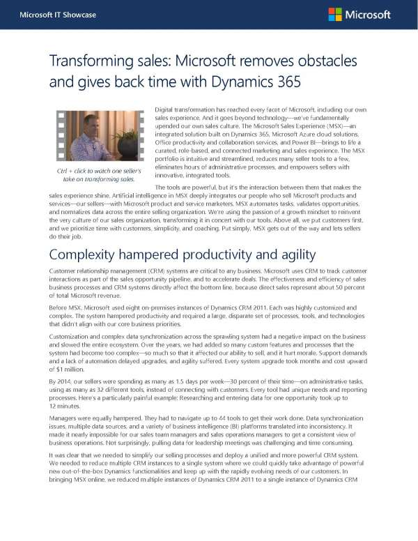 , Transforming sales: Microsoft removes obstacles and gives back time with Dynamics 365