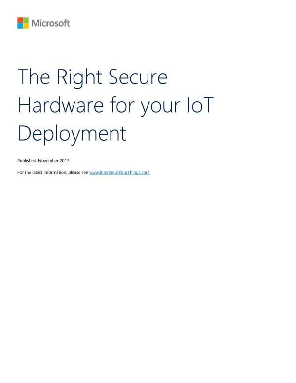 , The Right Secure Hardware for your IoT Deployment