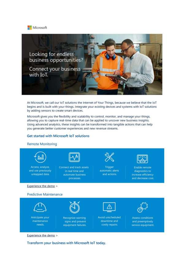 , Connect your business with IoT. Get started with Microsoft IoT!